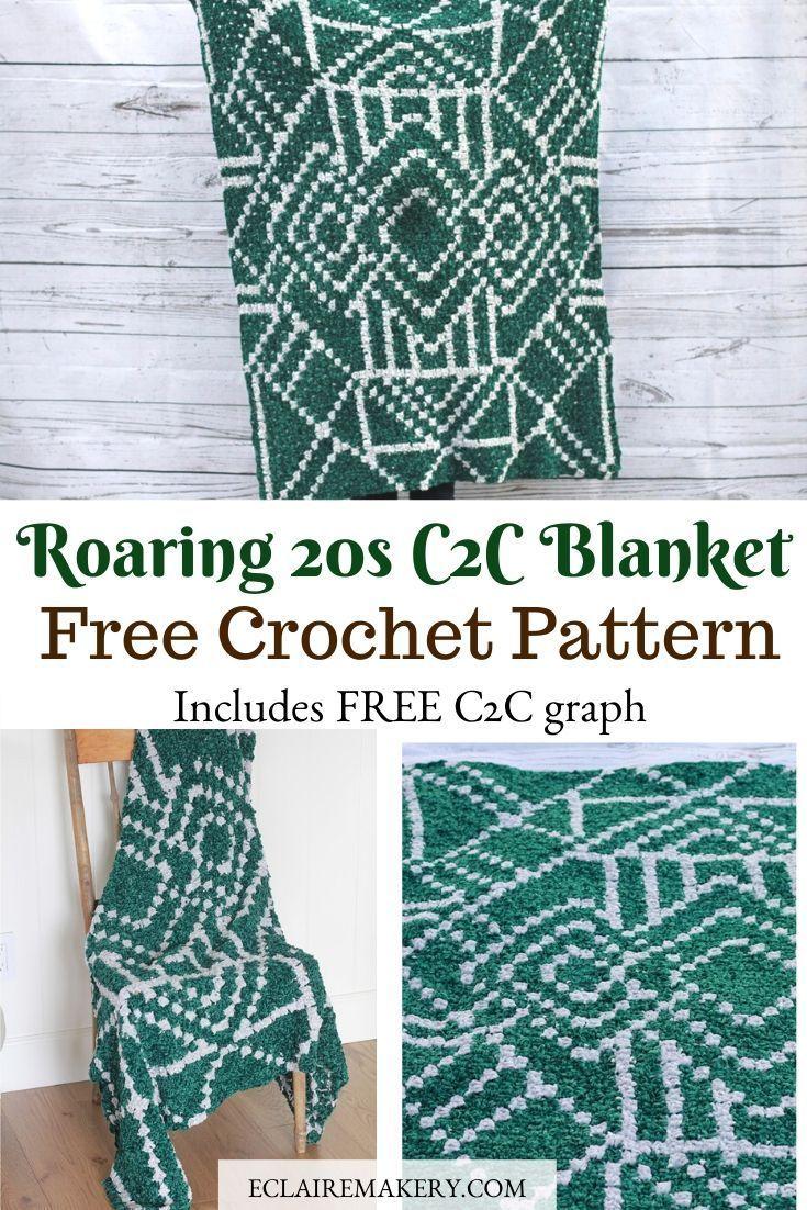 Roaring 20s C2c Crochet Free Blanket Pattern