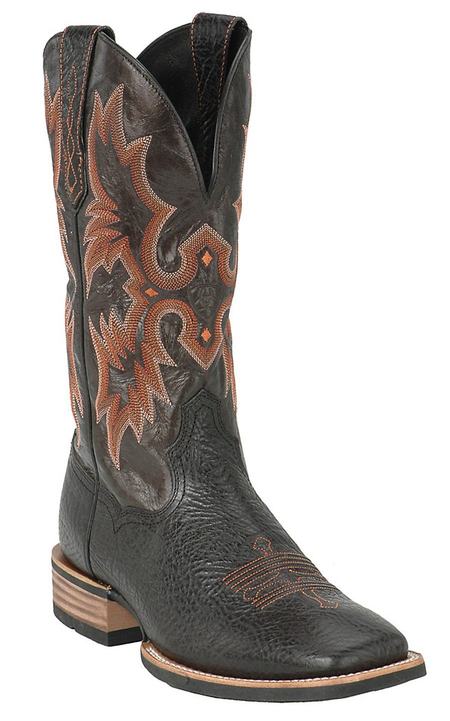 Ariat Tombstone Men's Black Double Welt Wide Square Toe Western ...