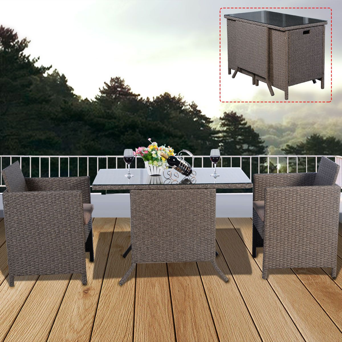 3pc Rattan Garden Bistro Set Cafe Tea Breakfast Chair Table Patio Cushions