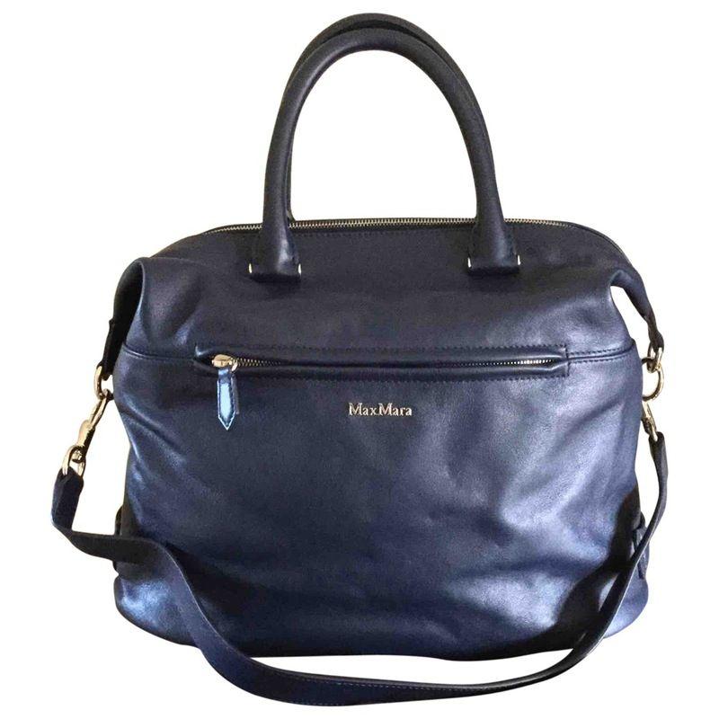 f0a45b1805c1 blue Plain Leather MAX MARA Handbag - Vestiaire Collective