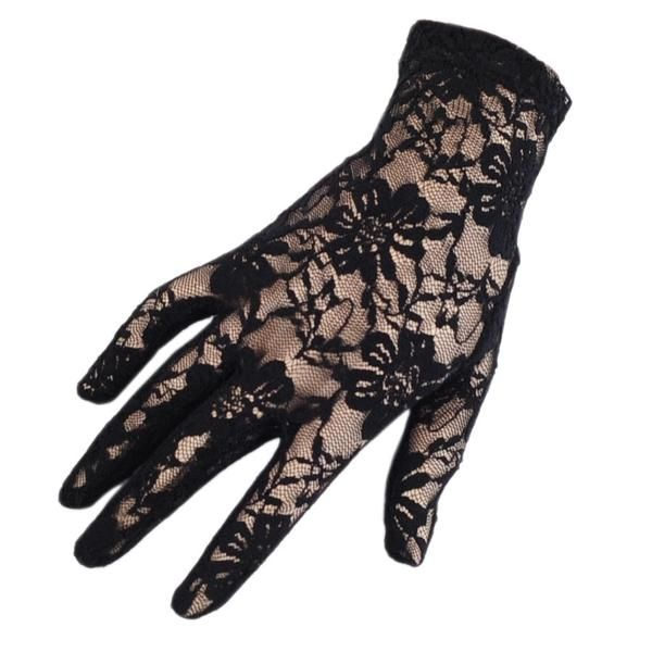 Short Black Fine Lace Gloves