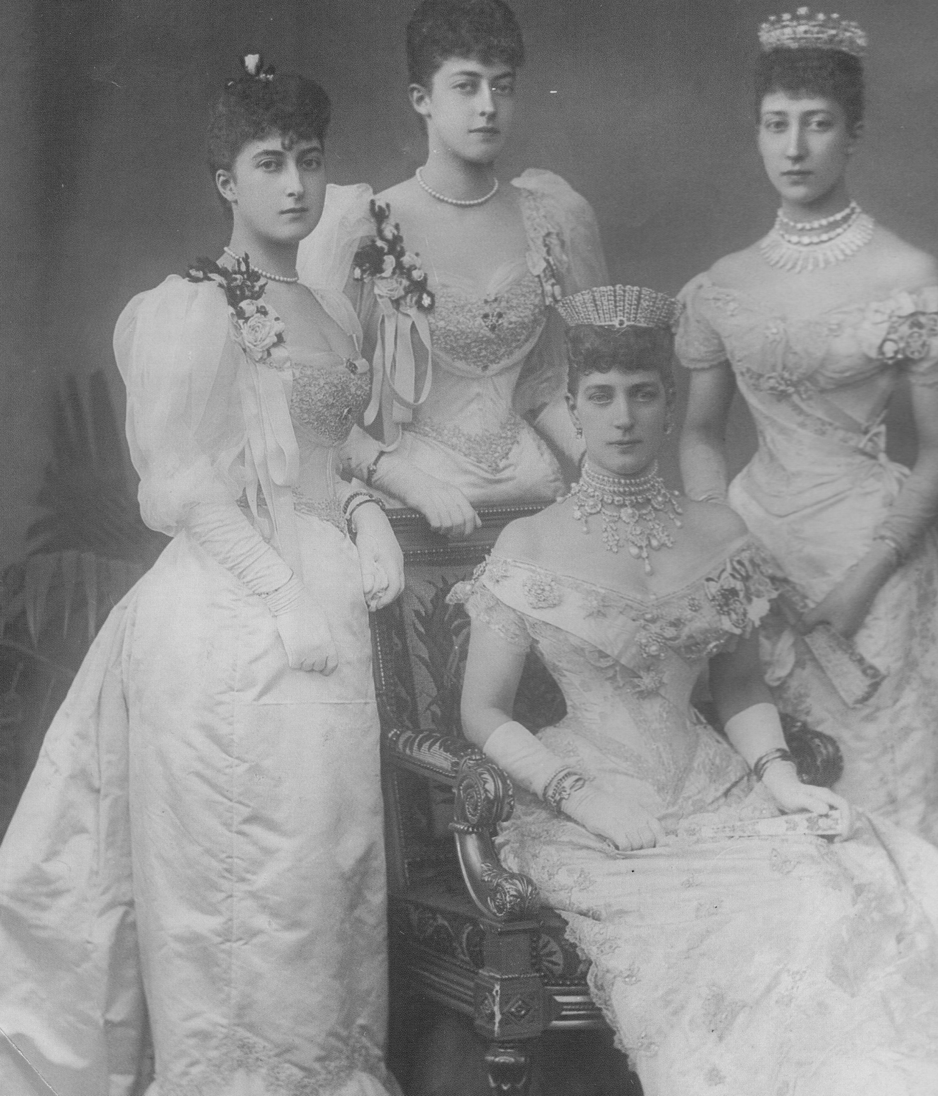 Alexandra, Princess of Wales with her daughters for the