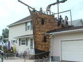 pirate ship halloween decorations thrill neighbors on tacoma avenue in lorain ohio - Pirate Halloween Decorations