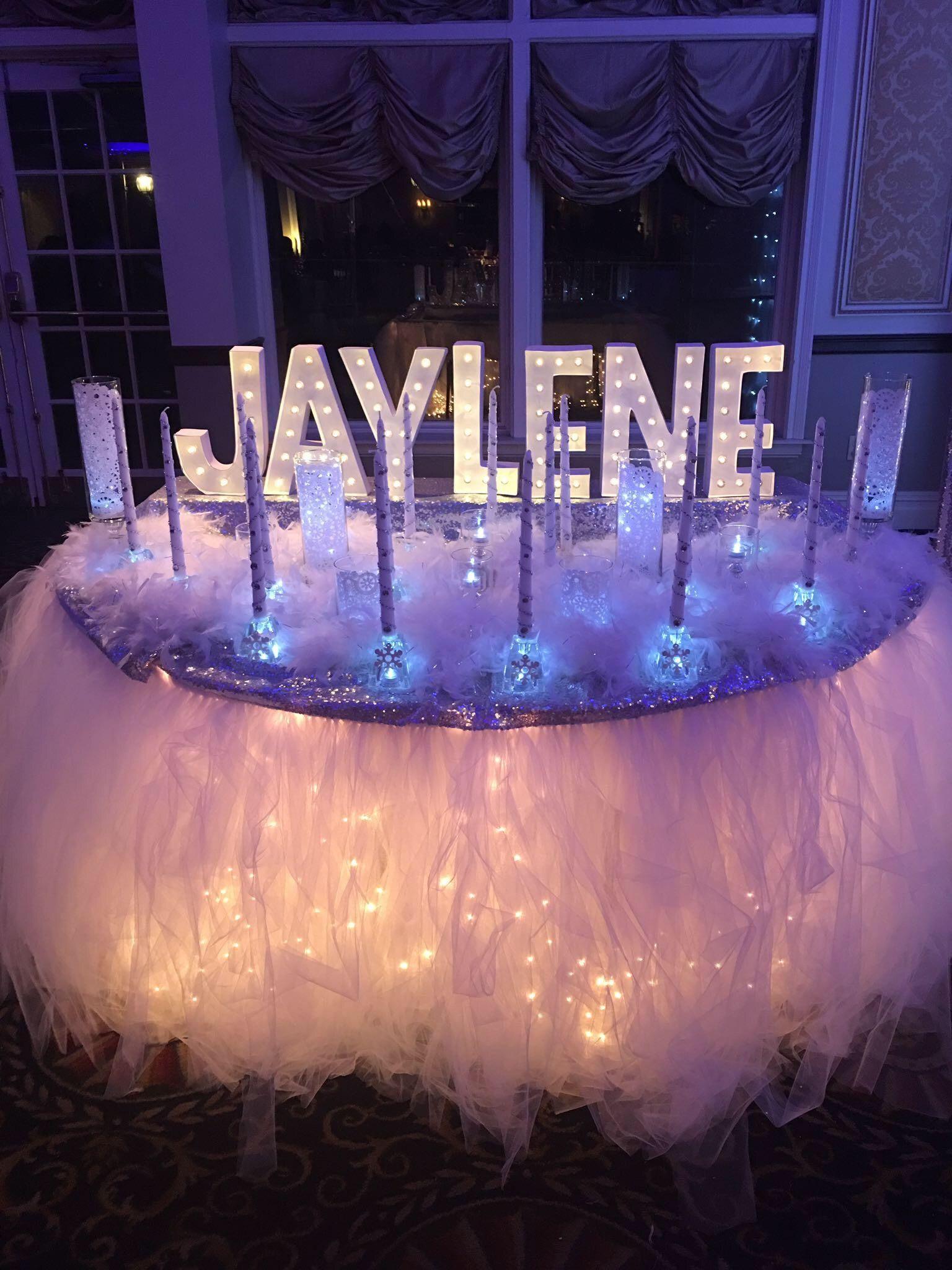 Candle Ceremony Set Up Winter Wonderland Sweet 16 Sweet 16