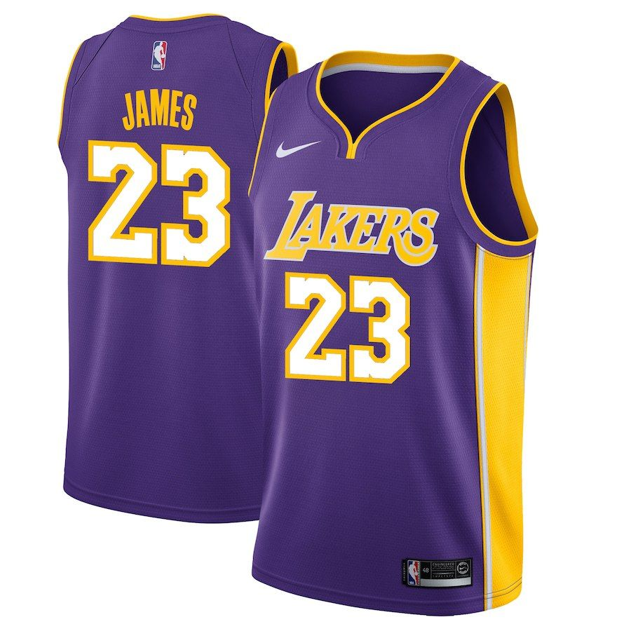 Men s Los Angeles Lakers LeBron James Nike Purple Swingman – Statement  Edition ace9f721b
