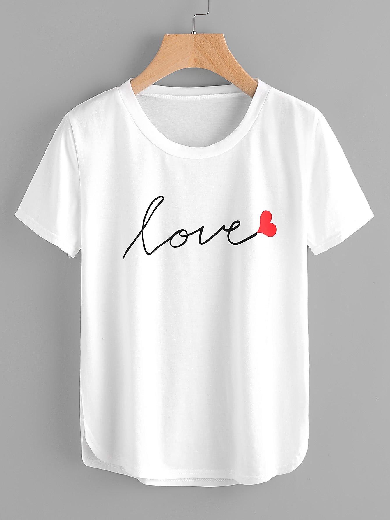 8c9e1721d Letter Print Dolphin Hem Tee Camisas Estampadas