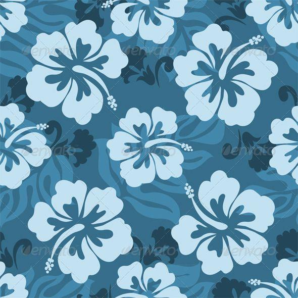 Hawaiian Seamless Pattern Hibiscus Leaves Nature
