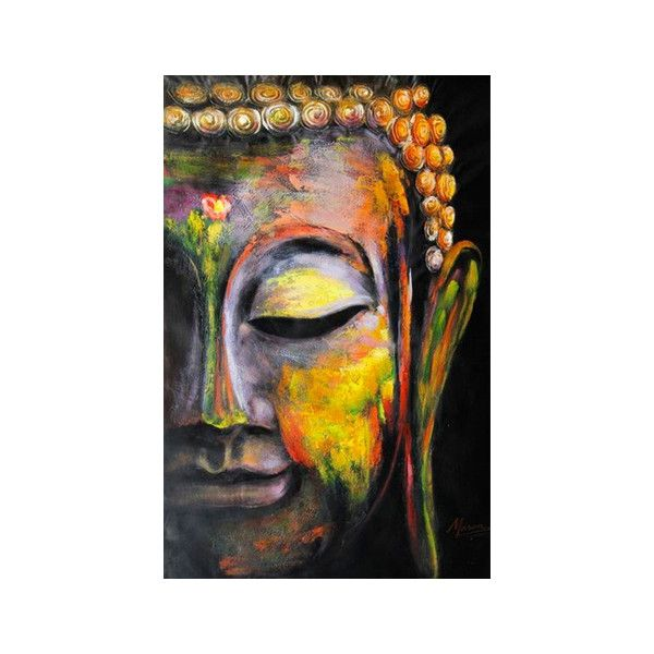 Buddha art oil painting large hand made oil painting on canvas ❤ liked on polyvore