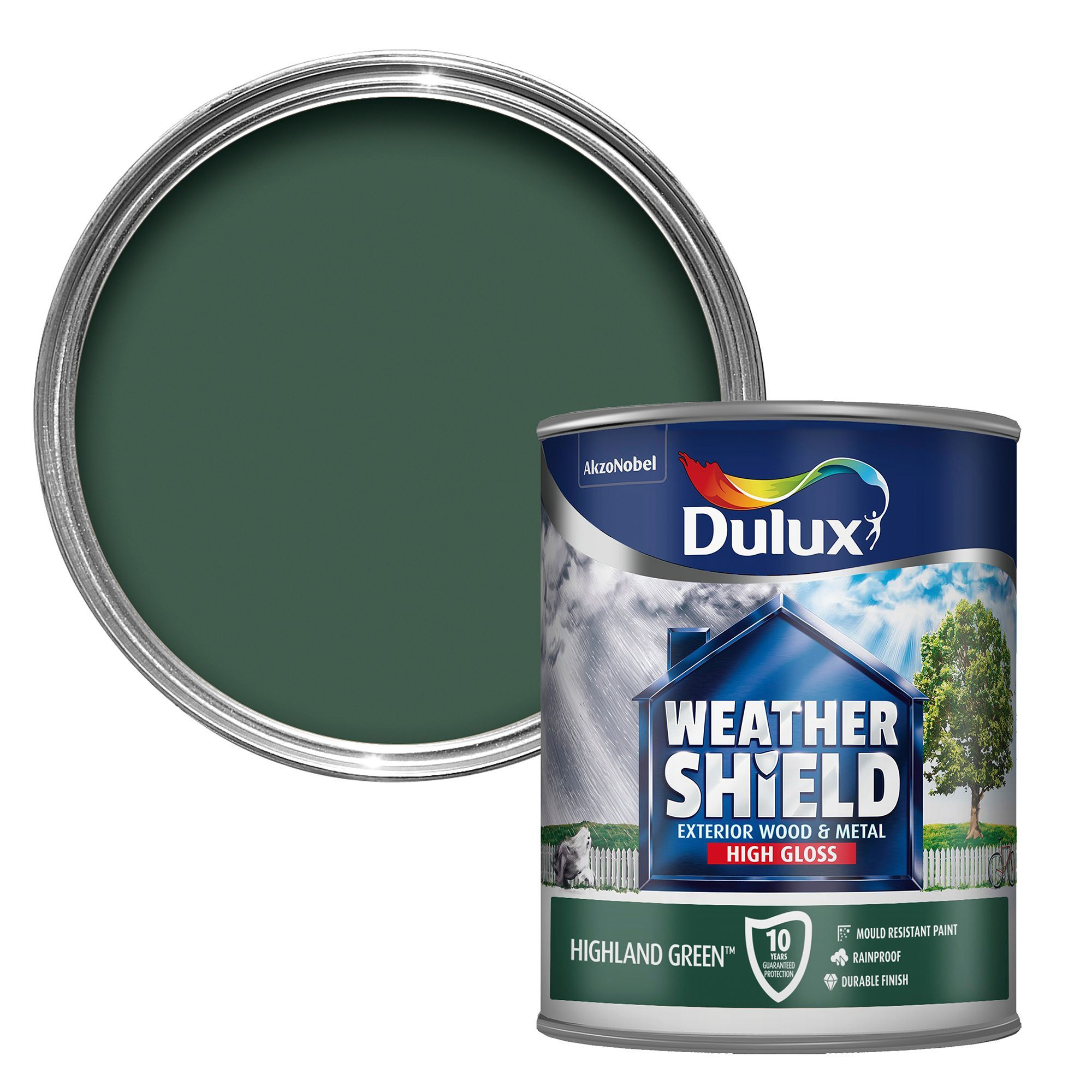 Dulux Weathershield Exterior Highland Green Gloss Wood Metal Paint 750ml Departments Diy At
