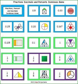 fraction decimal percent games pdf