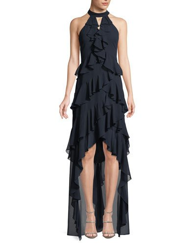 17c9169a Badgley Mischka Collection High-Low Georgette Ruffle Halter Gown ...