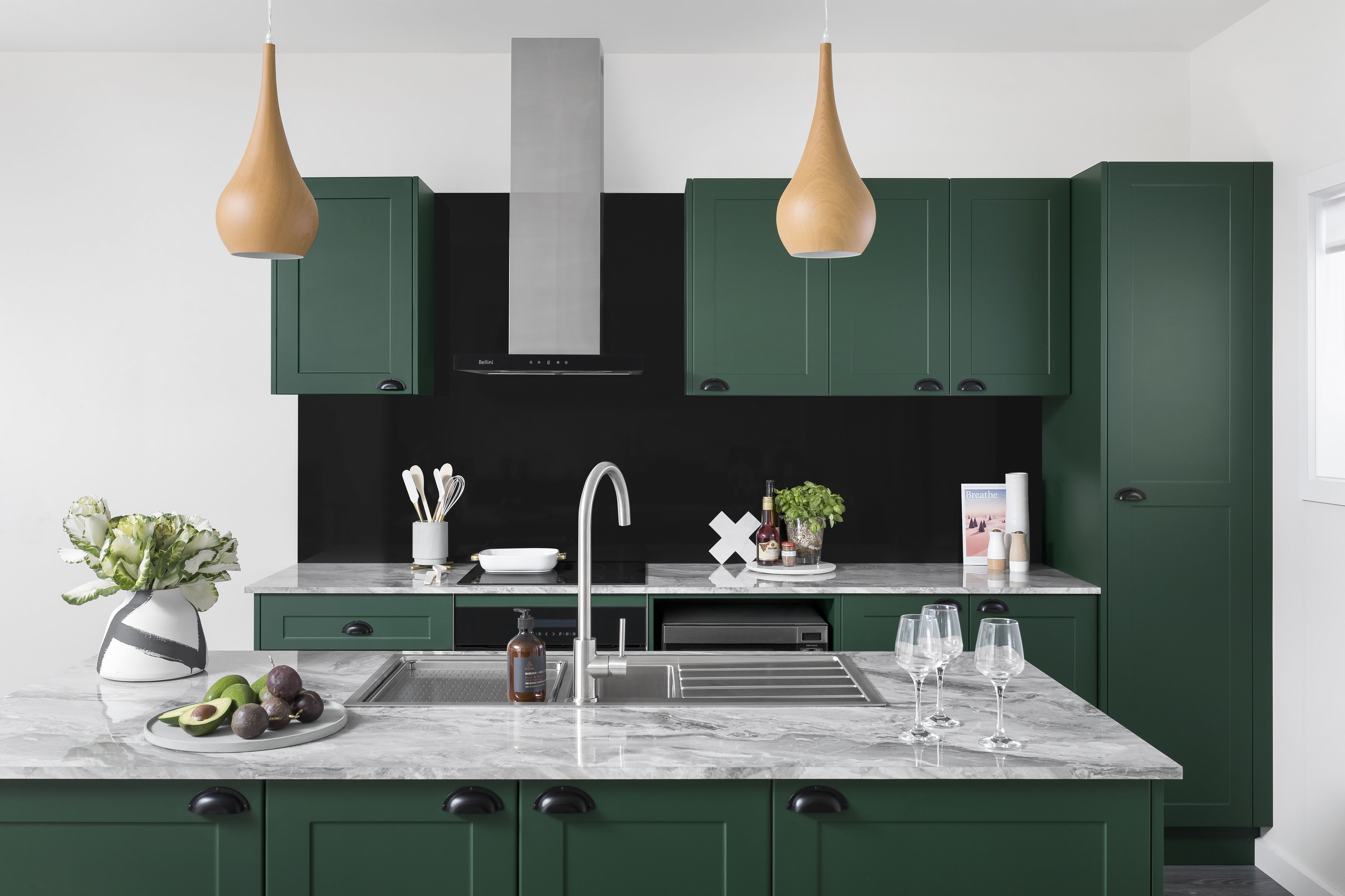 kaboodle kitchen with green cabinetry and cup handles bunnings kitchen with images on kaboodle kitchen enoki id=56858