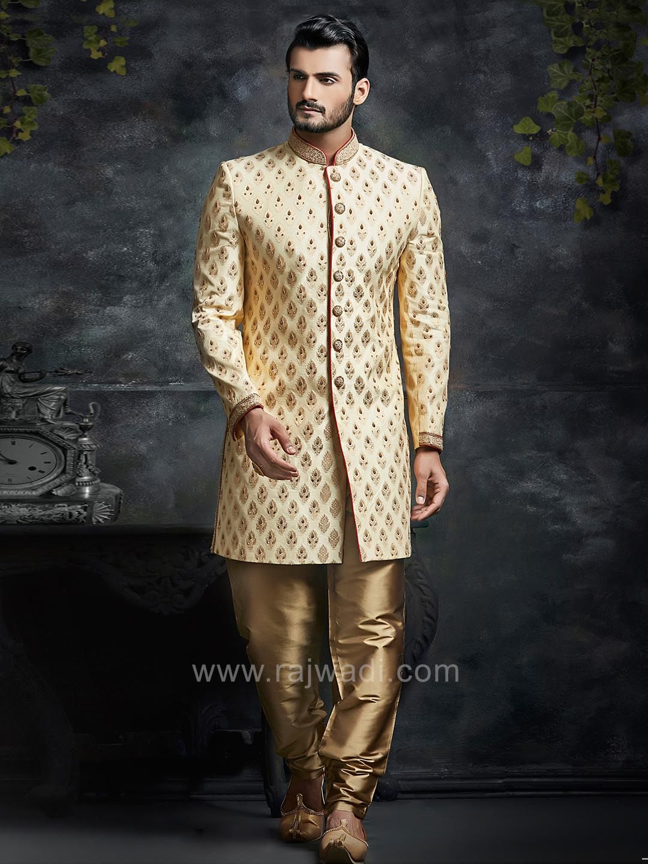 Golden brocade silk indo western sherwani rajwadi indowestern