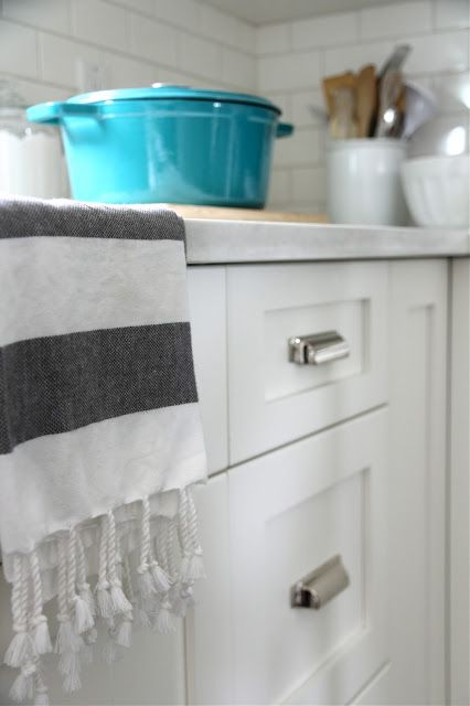 Our House: Kitchen Shopping Guide   HARDWARE Bin Pulls On All The Drawers  Are Restoration Hardwareu0027s Duluth Pulls In Polished Nickel Knobs On All The  ...