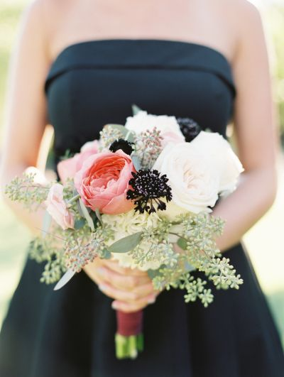 Dark + romantic bridesmaid bouquet: http://www.stylemepretty.com/2015/07/10/13-gorgeous-bridesmaids-bouquets-from-the-midwest/