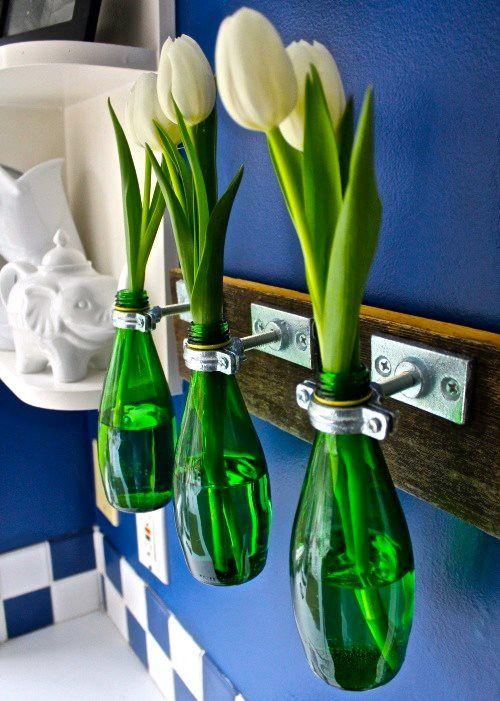 Perrier bottles used as vases