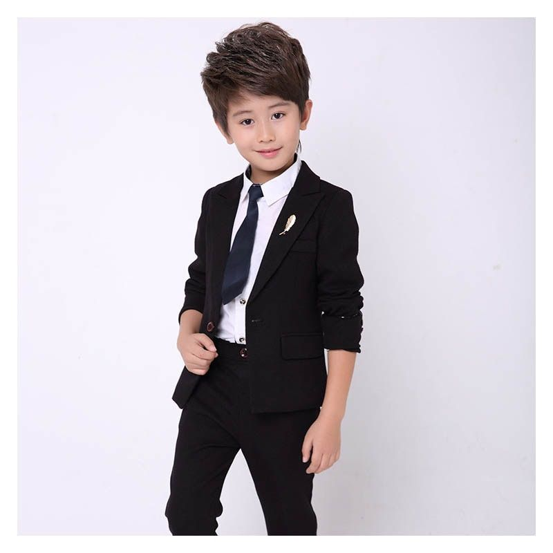 8bef19372 ... Information about New kids blazer for boys suit baby boy 2PCS Black  suits for boy tuxedo children party costume wedding clothes suit (jacket+ Pants,High ...
