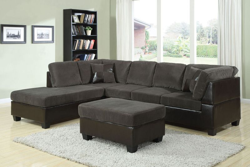 Acme modern olive gray corduroy espresso leather sectional for Grey corduroy sofa