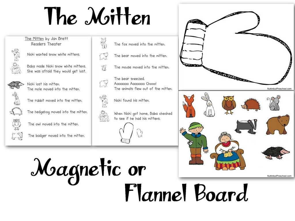 graphic about The Mitten Story Printable called Down load and print The Mitten flannel board models less than
