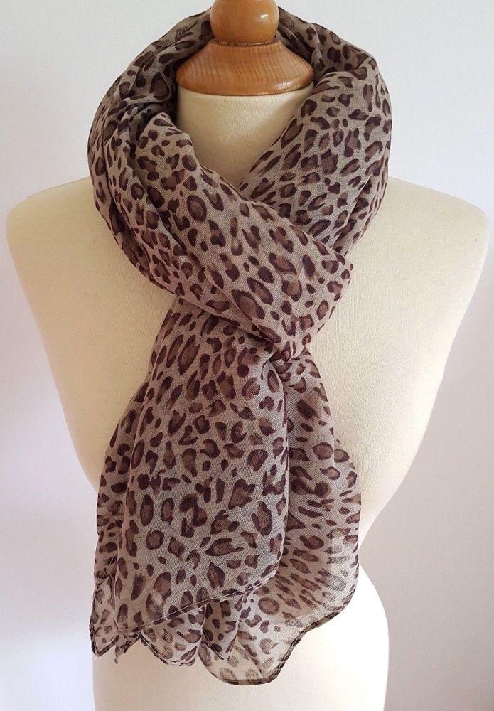 29d78756218 Foulard echarpe cheche motif leopard marron en 2019
