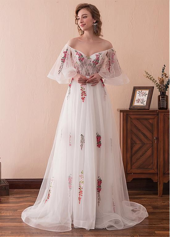 Photo of In Stock Gorgeous Tulle Off-the-shoulder Neckline Bell Sleeves A-line Prom Dress With Lace Appliques