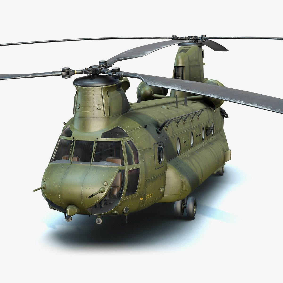 3d Low Poly Military Helicopter Ch 47 Chinook