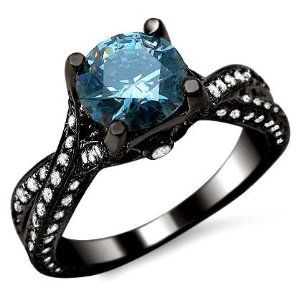 2.17ct Fancy Blue Round Diamond Engagement Ring 14K Black Gold by Front  Jewelers http:
