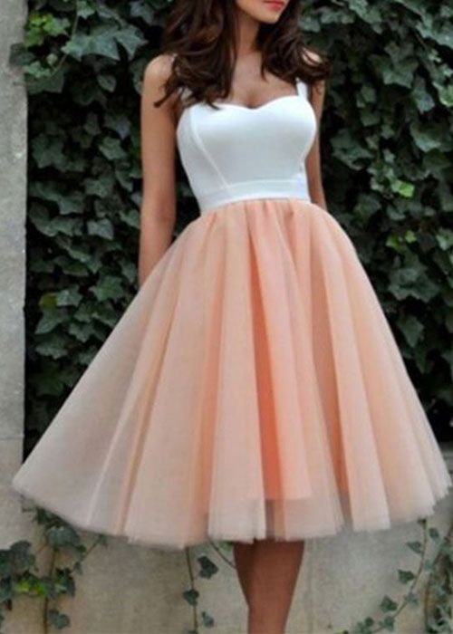 0b8867fbfe54 Cute tulle short prom dress