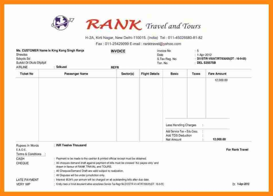 Image result for tours and travels bill format in ms excel Excel - travel invoice format