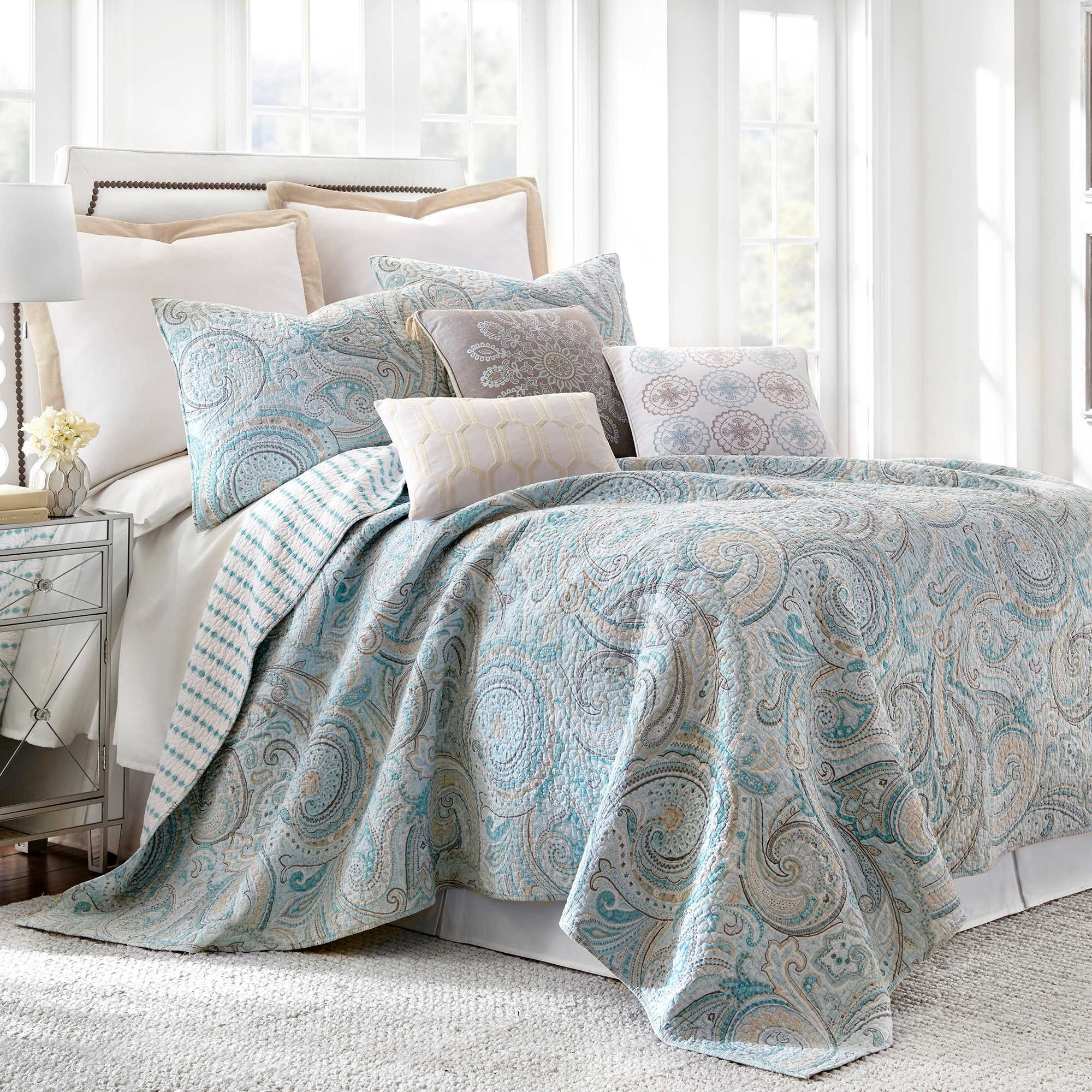 nice Levtex Home Quilt Set Part - 8: $150 Levtex Home Amelie Reversible King Quilt Set in Blue