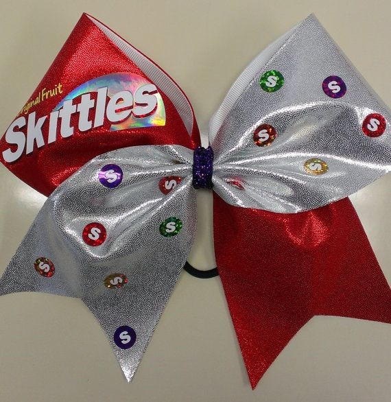 Skittles cheer bow bows over bros pinterest be cool cheer bows and so cute - Cute cheer bows ...