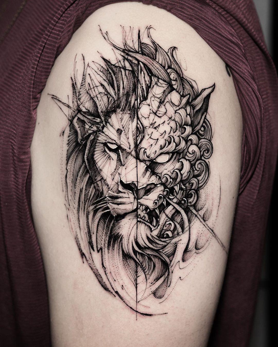 Lion And Foo Dog Chinese Guardian Lions Done At Bk Inkstudio Killersilverink Sketch Style Tattoos Foo Dog Tattoo Body Art Tattoos