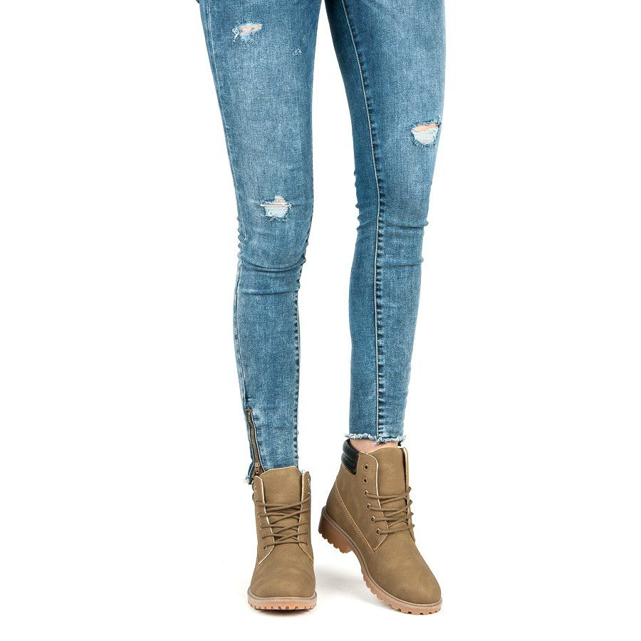 Seastar Botki Damskie Traperki Brazowe Zielone Skinny Jeans Fashion Skinny
