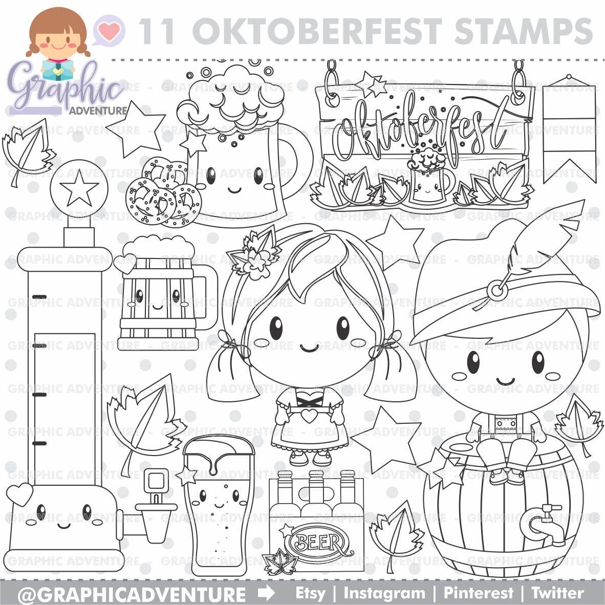 Oktoberfest Stamp Beer Stamps COMMERCIAL USE Digi Digital Image Party Digistamp Coloring Page Clip Art