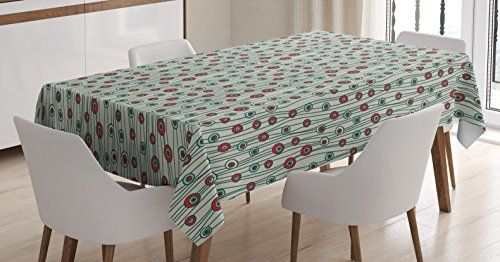 Exceptionnel Geometric Tablecloth By Ambesonne, Vertical Lines Stripes With Circular  Shapes Funky Artistic Faded Colors,