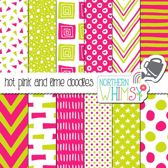 Hot Pink And Lime Digital Paper Pack Pink And Neon Green Doodle