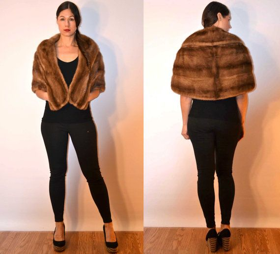 1950s sz small brown mink stole fur cape // USA MADE  #fauxyfurrvintage #madeinamerica
