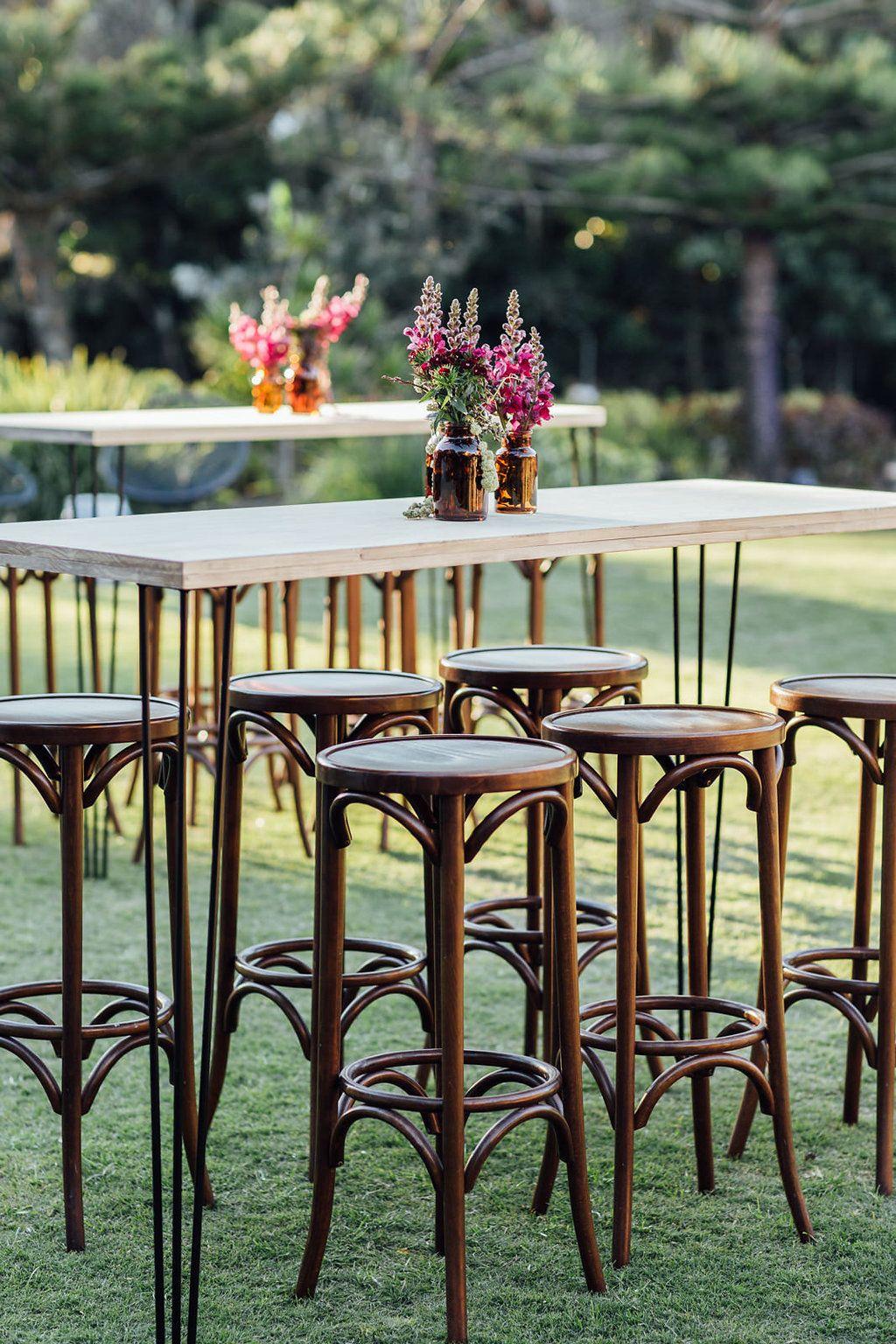 Hampton event hire black hairpin leg dry bar walnut bentwood stools sunshine coast corporate event image by when elephant met zebra