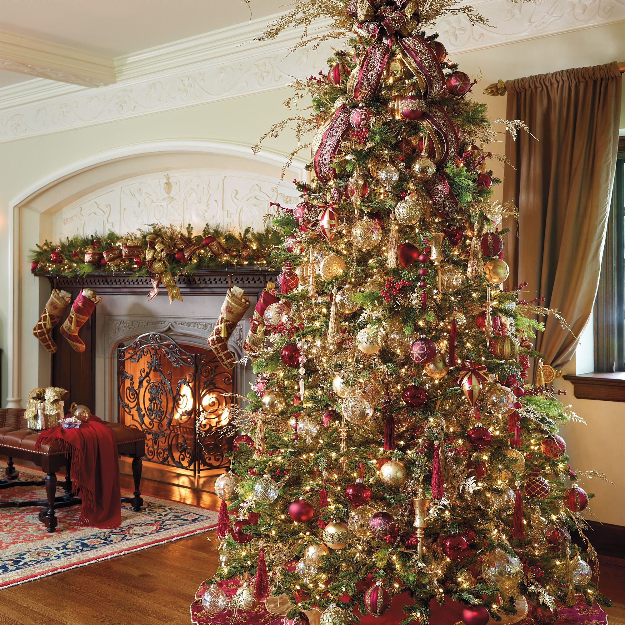Beautiful Christmas Trees: We'd Keep The Season Dressed In Traditional Burgundy And