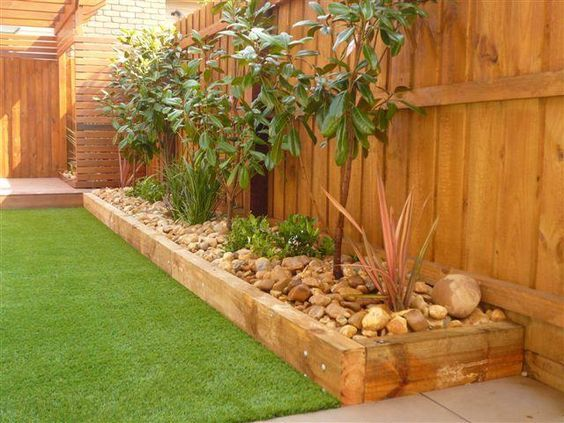 tidy wooden timber edging ideas (idea for side of garage ...