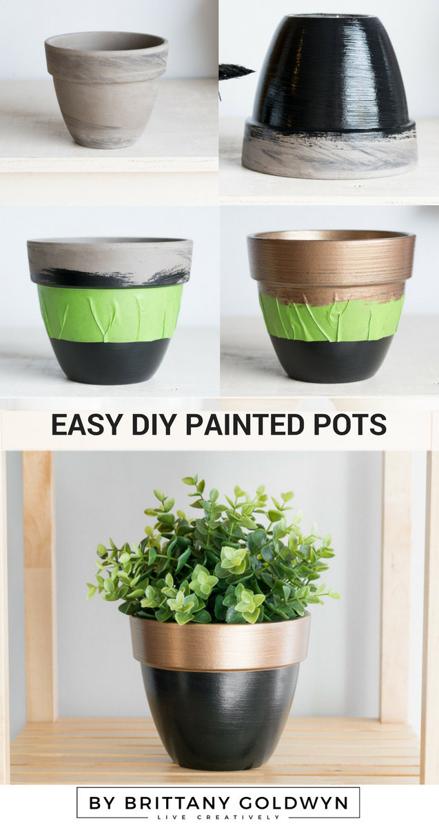 One Room Challenge Week 4 Greenery Painted Gold Accents Painted Pots Diy Flower Pots Diy Pots