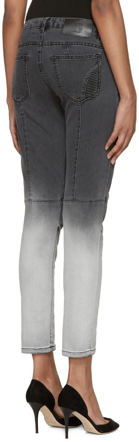 f53a04df Pierre Balmain - Grey Two-Tone Biker Jeans | R&D Women | Biker jeans ...