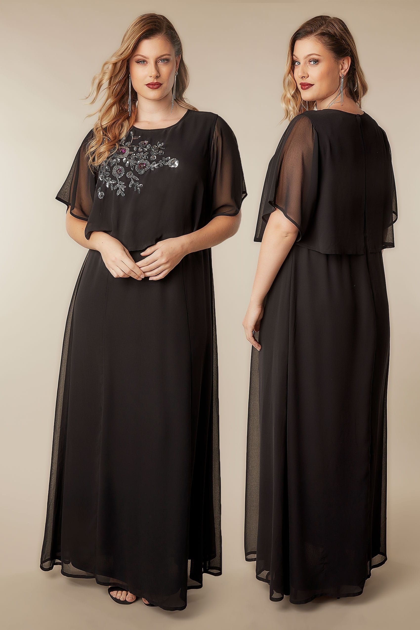 1c2439d8579 YOURS LONDON Black Sequin Floral Embellished Cape Sleeve Maxi Dress ...