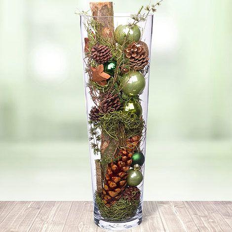 Glasvase Festlich Inszeniert Weihnachten Geschenk Essen Chris