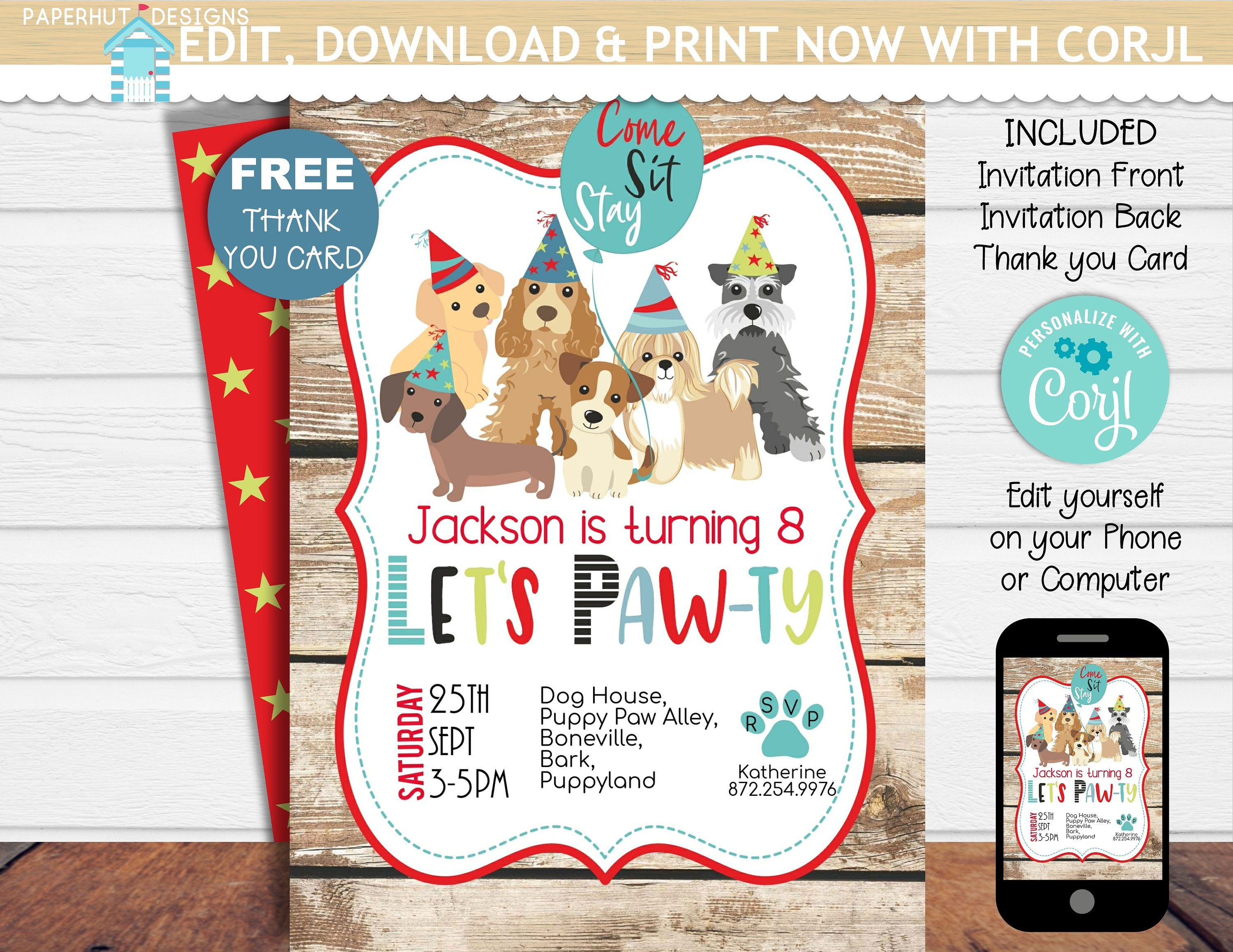 Puppy Dog Birthday Invitation Invite Party