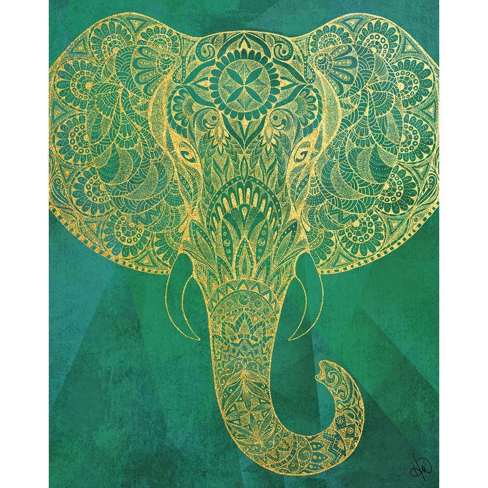 Terrific 20 In X 24 In Mehndi Elephant Head On Green Wrapped Download Free Architecture Designs Boapuretrmadebymaigaardcom