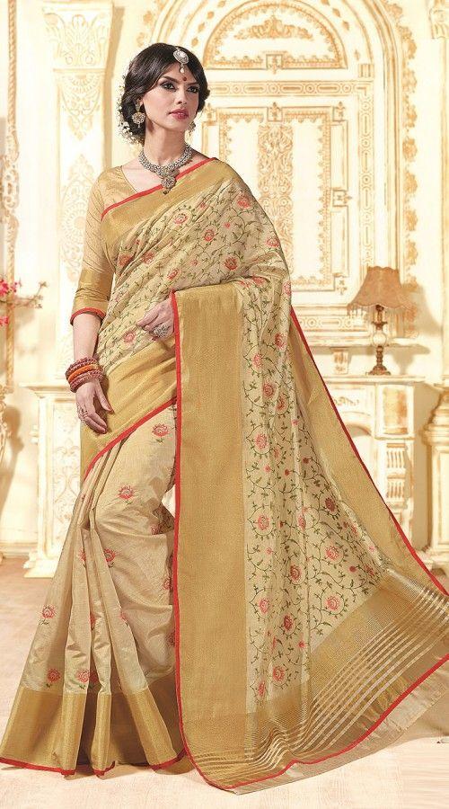 70f3a2fea2edd Dazzling Dark Cream Tussar Silk Saree With Plain Red Blouse AK27136 Stylish  dark cream color saree crafted on tussar silk material.