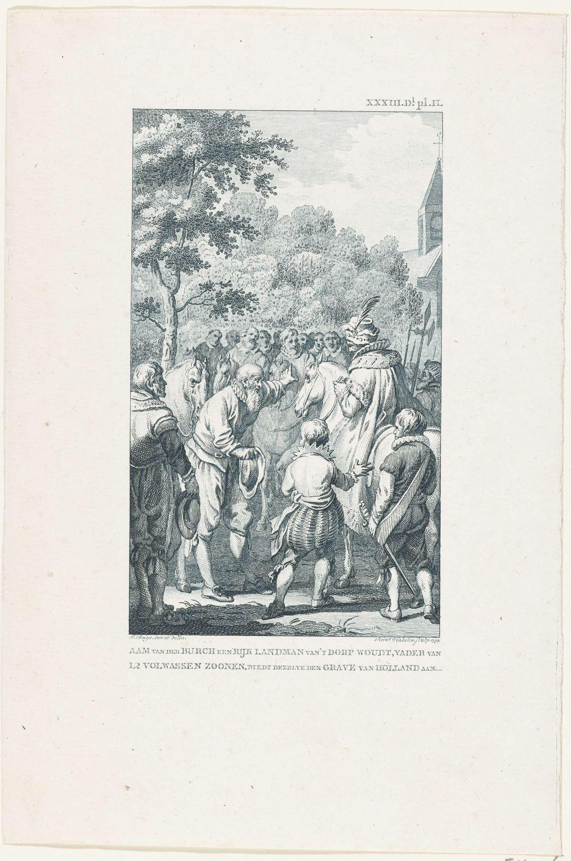 Reinier Vinkeles   Aam van der Burcht biedt de Graaf van Holland zijn zonen aan, ca. 1475, Reinier Vinkeles, 1795   Aam van der Burcht biedt de graaf van Holland, Karel de Stoute, zijn twaalf zonen aan, ca. 1475.