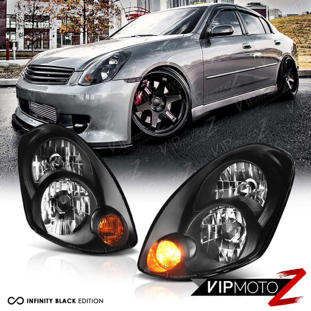 For 2005 2006 Infiniti G35 Sedan Factory D2s Hid Black Headlight Assembly L R Ebay Black Headlights Sedan Headlight Assembly