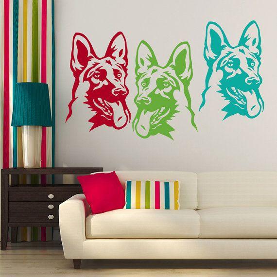 Dog Decal German Shepherd Dog Pant, Alsatian, Vinyl Sticker Decal - Good for Walls, Cars, Ipads, Mirrors Etc
